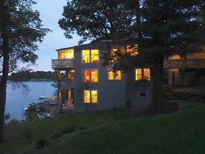 Dusk side view of Lakehouse