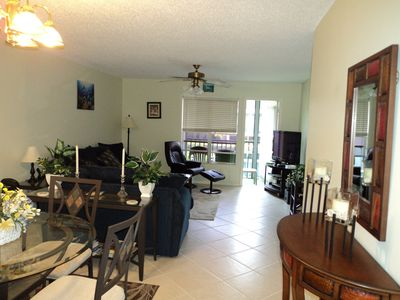 Venice condo rental - Living/dining room with access to Lanai Lake view!