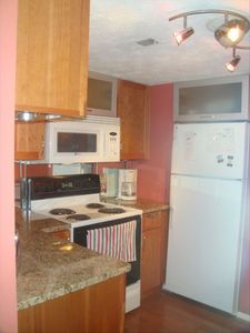 Kitchen view with microwave, stove & fridge