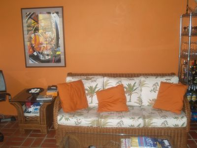 St. Croix villa rental - The living room offers a queen size fold out bed perfect for extra guests.