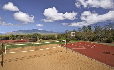 Recreational Area - Red Clay Tennis Court, Basketball court and sand volleyball