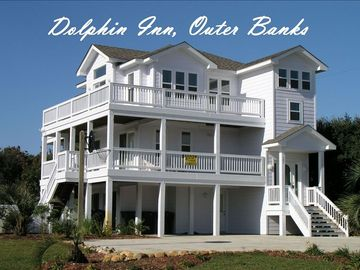 Southern Shores house rental - Dolphin Inn: 7 Bedrooms, Pool, Hot Tub, 1 1/2 blocks to beach, 1 mi. to Duck