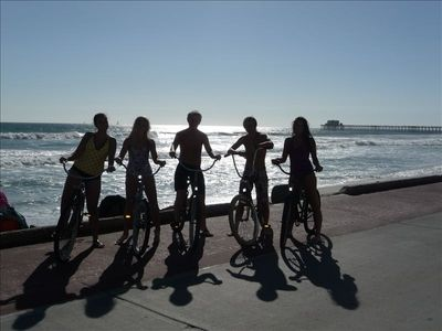Bike riding to the Oceanside Pier. Beach Cruisers available with the units.