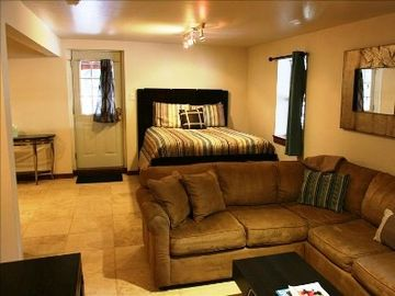 Vail house rental - Living Area w/ Sectional Double Sized Sleeper Sofa, travertine floor