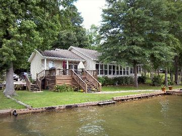 Lake Martin house rental - Lakefront Central! Deck has two wrought iron tables with chairs and grill. View!