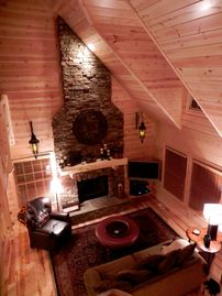 Saugatuck / Douglas cabin rental - Great room with a wood burning fireplace and a 42' TV