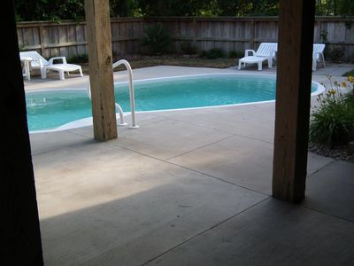 Covered outdoor dining area, poolside
