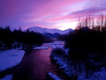 Dusk over Crow Creek in the middle of Girdwood town