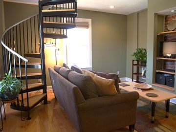 Asheville apartment rental - bright, comfy living area