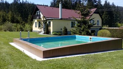 Holiday house With sports field and outdoor pool at the forest