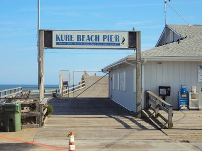 Kure Beach Pier entrance. Four blocks from the house. 3 Restaurants & arcades