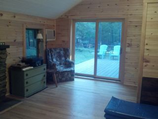 Woodstock cabin photo - Living room facing deck