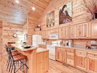 Wears Valley cabin photo - Kitchen, open to LR and DR with table and bar seat