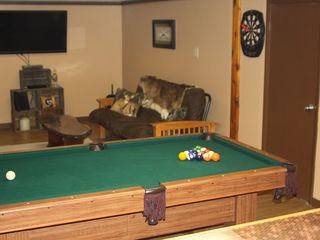 Lehighton house photo - Rec room with pool table, ping pong table, large flat screen TV, and dart board