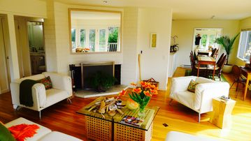 Carmel Highlands house rental - Living room, lots of room to entertain. Real wood burning fireplace.