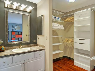 Master Suite - Spa towels, bath towels and wooden hangers are all provided!
