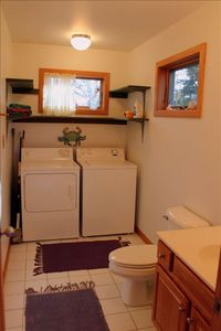 Half bath and laundry room downstairs