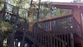 Flagstaff cabin photo - Exterior Photo of front deck at Rustic Mountain Home