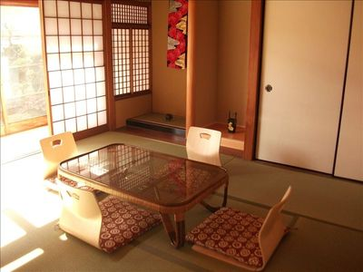 Tatami room with view Japanese garden
