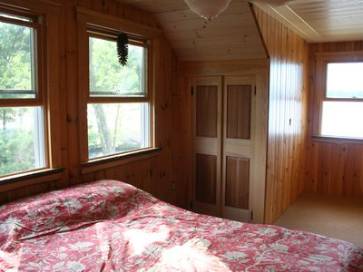 Ossipee Lake house rental - Bedroom 2 - water, river, and beach views, all from one room.