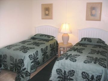 The Large Guest Bedroom Features 2 Pillowtop Mattress Beds in a Tropical Setting