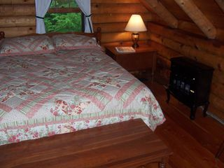 Lake Hortonia cabin photo - Cozy Log Style Bedroom 4, Full bed, dressers+beautiful glowing heaters