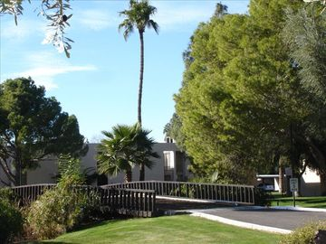 Mesa townhome rental - Charming bridge over our pond