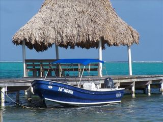 "Ambergris Caye house photo - Our 25' Skiff ""18 Degrees North"" Docked at Our Pier"