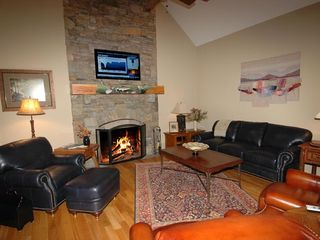 Cashiers estate photo - Great Room with Wood Burning Fireplace & HD TV