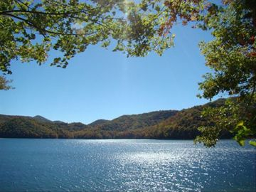 Lake Nantahala house rental - Actual view from our dock featured in local area magazines.
