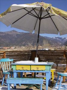 Sunrise Deck/Dining with the view of the Sangre de Christo mountains and skies
