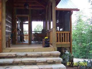 Blue Ridge cabin photo - Entrance in to screened patio with outdoor fireplace