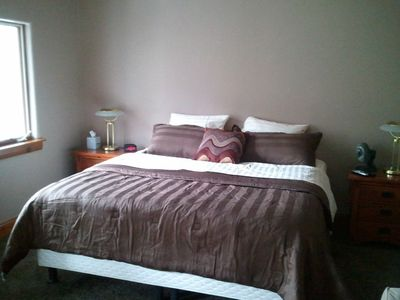 Master bedroom bed, king size Sleep Number bed.  Pull out queen couch also