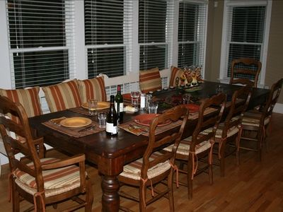 Seating for up to ten at large kitchen table.
