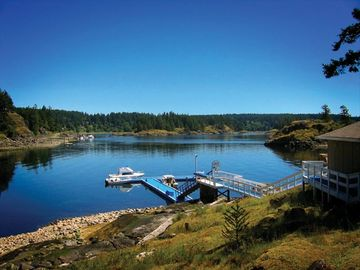 Quadra Island lodge rental - View of Gowlland Harbour & shared private dock (boat moorage up to 24' incl.)