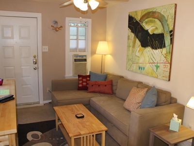 Austin apartment rental - Cozy living room. Couch folds into a queen bed with comfy gel topper