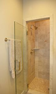 Austin house rental - Master bath, large walk-in shower, stone sound, glass door, brushed chrome