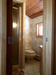 Yarmouth cottage photo - Full bath, stall shower, tiled walls and floor