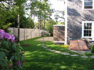 Oak Bluffs house photo - Back yard and outdoor shower with cabana