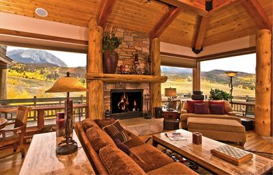 Great Room with Fireplace and Views of Buffalo Mountain