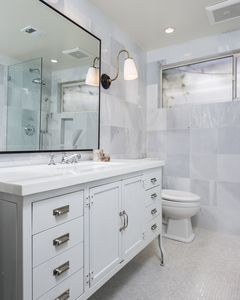 West Hollywood house rental - master bathroom en suite, restoration hardware vanity