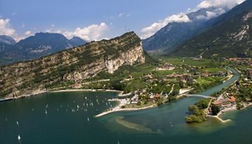 Aerial View of Monte Brione separating Torbole from Riva del Garda