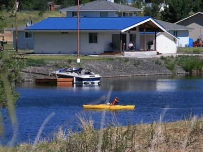 Klamath Falls cabin rental - The view from across the river. Private boat launch and kayak rental.