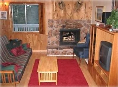 View of the living room with fireplace