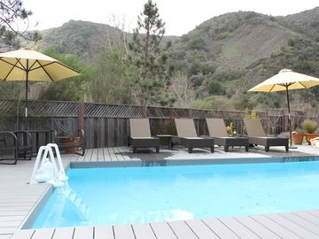 Carmel Valley chateau / country house rental - pool with spa on an elevated deck