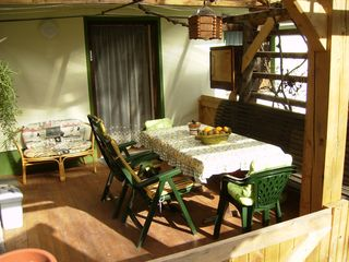 Bohinjska Bela apartment photo - Backyard terrace.