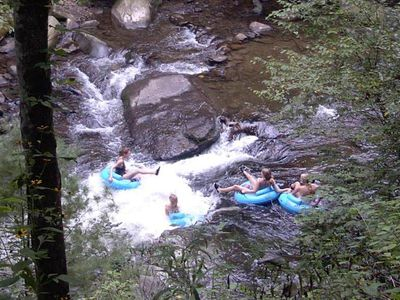Bryson City cabin rental - Girls just wanna have fun!! (Tubing at Deep Creek, Bryson City, NC)