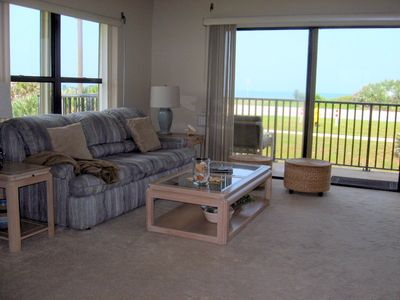 Ormond Beach condo rental - Living area with direct unobstructed ocean views