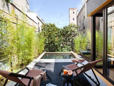 Secluded private roof terrace with plunge-pool