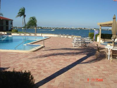 Bayfront deck with heated pool and jacuzzi
